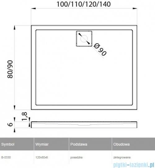 New Trendy Lido brodzik prostokątny 120x80x6cm B-0330