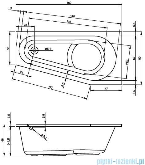 Riho Delta wanna asymetryczna 160x80cm lewa nóżki+syfon BB83/01U/AMC55