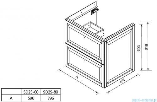 rysunek techniczny Oristo Montebianco szafka z blatem 80x60x46 piaskowy mat OR47-SD2S-80-10/OR00-BU-80-10