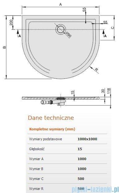 Sanplast Brodzik przyścienny Space Mineral z powłoką 100x100x1,5cm + syfon 645-290-0460-01-002