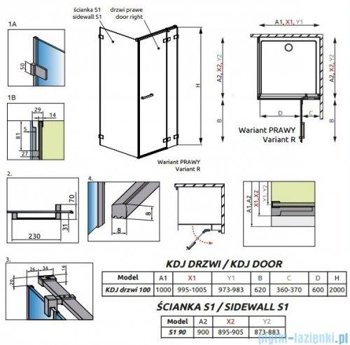 Radaway Euphoria KDJ Kabina prysznicowa 100x90 prawa szkło przejrzyste + brodzik Argos D + syfon 383612-01R/383240-01R/383050-01/4AD910-01