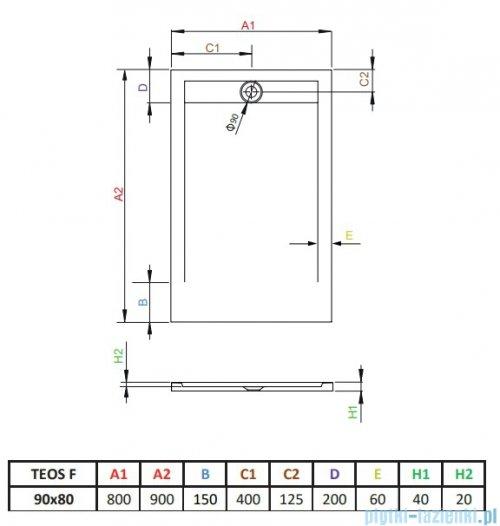 Radaway Teos F brodzik 90x80cm biały HTF9080-04
