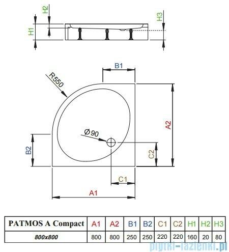 Radaway Brodzik półokrągły Patmos A Compact 80x80 ze zintegrowaną obudową 4S88155-05