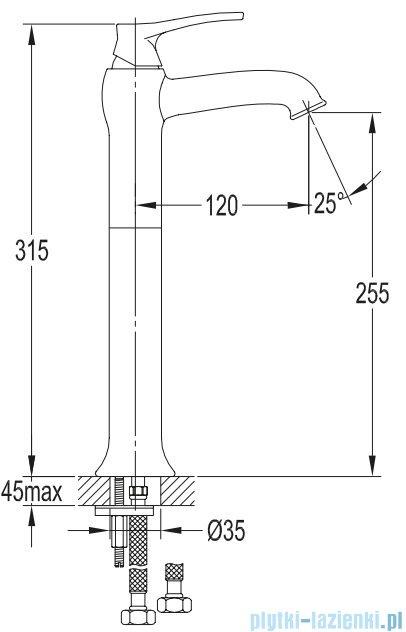 Omnires Art Deco bateria umywalkowa wysoka miedź antyczna AD5112/1ORB