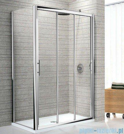 Novellini Drzwi prysznicowe przesuwne LUNES P 132 cm szkło przejrzyste profil srebrny LUNESP132-1B