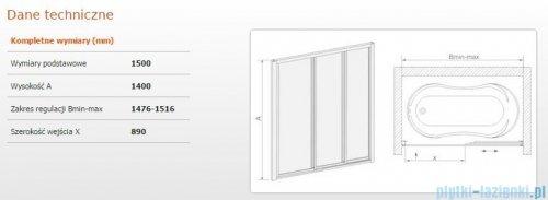 Sanplast kabina nawannowa wnękowa szkło Cora  DTr-c-W-150  600-013-2431-01-370