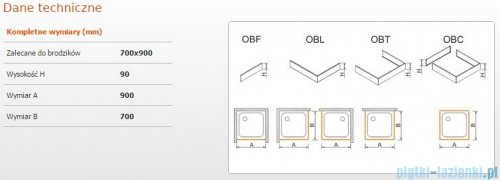 Sanplast Obudowa brodzika OBL 70x90x9 cm 625-400-1120-01-000