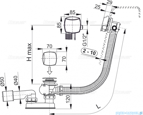 Alcaplast  syfon wannowy z funkcją napełniania przez przelew chrom A564CRM3-80