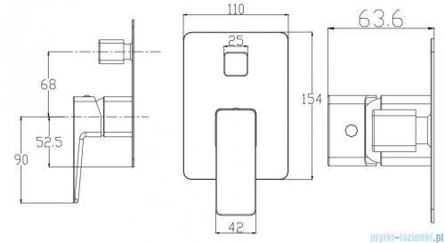 Omnires Parma bateria wannowa podtynkowa chrom PM7435CR