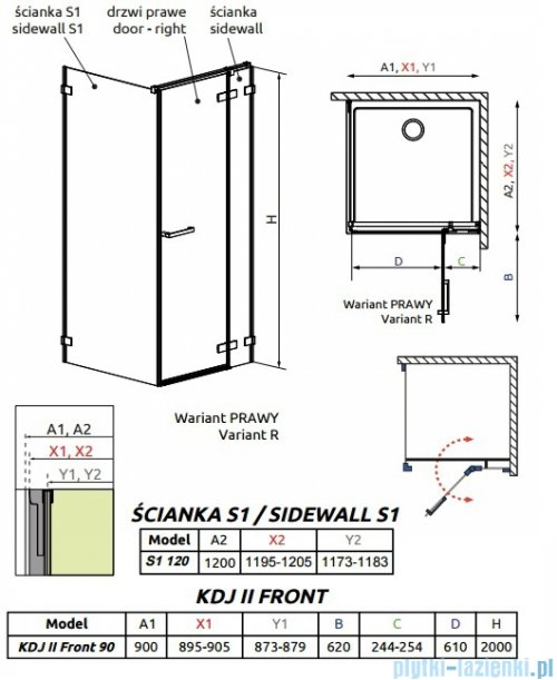 Radaway Arta Kdj II kabina 90x120cm prawa szkło przejrzyste rysunek techniczny