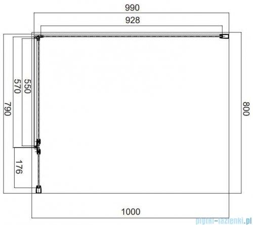 Omnires Manhattan kabina prostokątna 80x100cm szkło przejrzyste MH8010CRTR