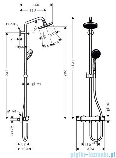 Hansgrohe zestaw prysznicowy Croma 160 z termostatem chrom 27135000