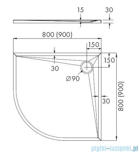 Schedpol Etrusco brodzik półokrągły 80x80x3cm 3.463