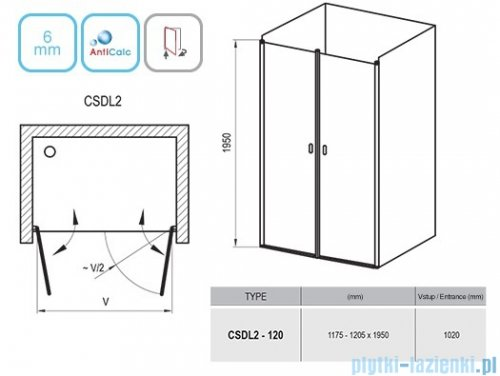 Ravak Chrome CSDL2 drzwi prysznicowe 120cm aluminium transparent 0QVGCC0LZ1
