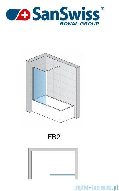 SanSwiss Fun Fb2 Ścianka 1-częściowa nawannowa 70cm profil połysk FB207005007
