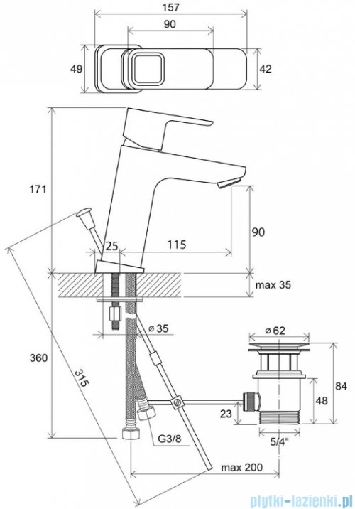 Ravak 10° bateria umywalkowa stojąca 170mm z korkiem X070061