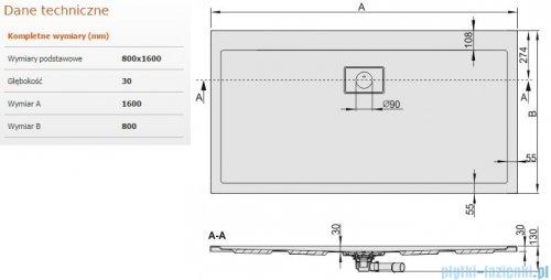 Sanplast Space Line brodzik prostokątny 160x80x3cm+syfon 615-110-0280-01-000