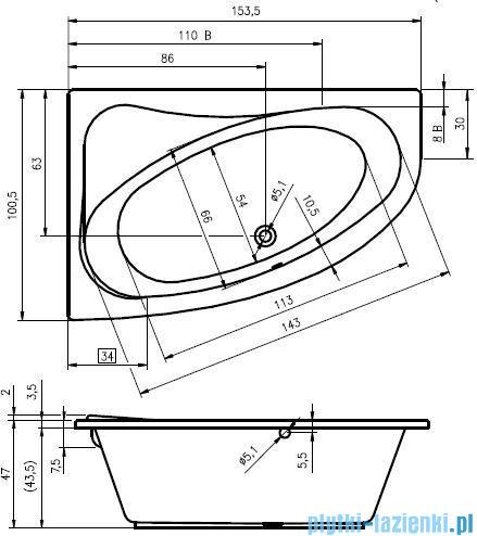 Riho Lyra wanna asymetryczna 153x100cm lewa nóżki+syfon BA68/08/495121