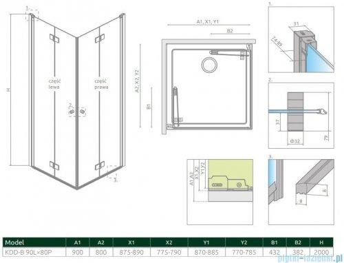 Radaway Nes Black KDD B kabina 90x80 przejrzyste 10024090-54-01L/10024080-54-01R