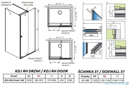 Radaway Furo Black KDJ RH kabina 100x120cm prawa szkło przejrzyste 10104492-54-01RU/10110510-01-01/10113120-01-01