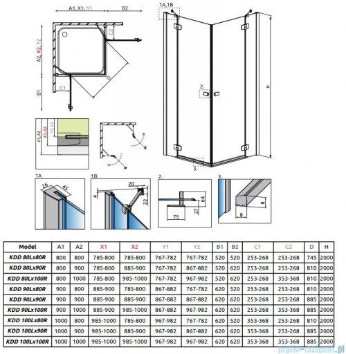 Radaway Fuenta New Kdd kabina 100cm część lewa szkło przejrzyste 384062-01-01L