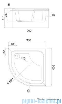 Schedpol Brodzik półokrągły z siedziskiem Dante 90x90x41 3.023