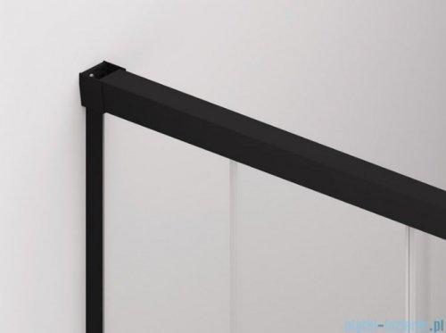 SanSwiss Cadura Black Line drzwi przesuwne 80cm jednoskrzydłowe lewe z polem stałym profile czarny mat CAE2G0800607