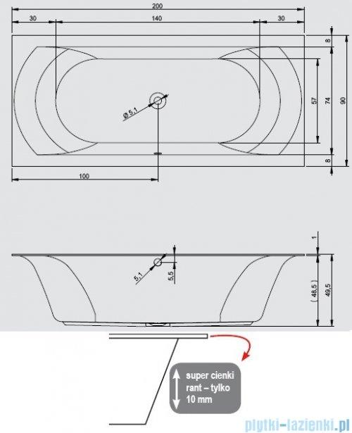 Riho Linares wanna prostokątna 200x90cm nóżki+syfon BT49/07/AMC100