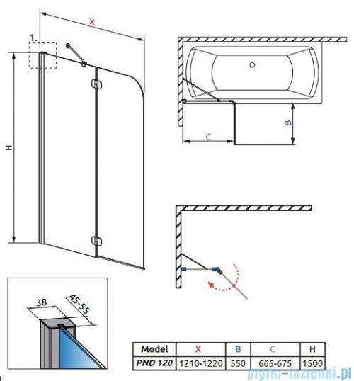 Radaway Torrenta PND Parawan nawannowy dwuczęściowy 120 cm lewy szkło przejrzyste 201203-101NL
