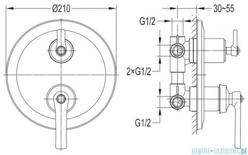 Omnires Armance bateria 3-wyjściowa podtynkowa miedź antyczna AM5237ORB