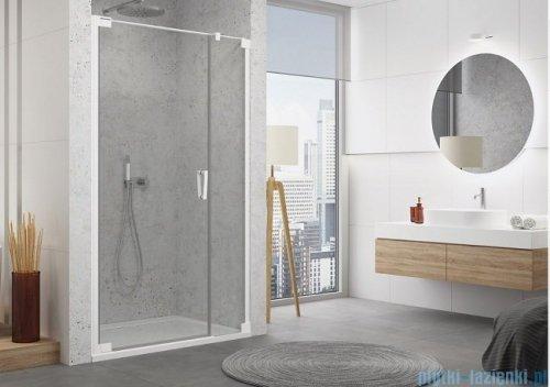 SanSwiss Cadura White Line drzwi wahadłowe 140cm jednoczęściowe lewe z polem stałym biały mat CA31CG1400907