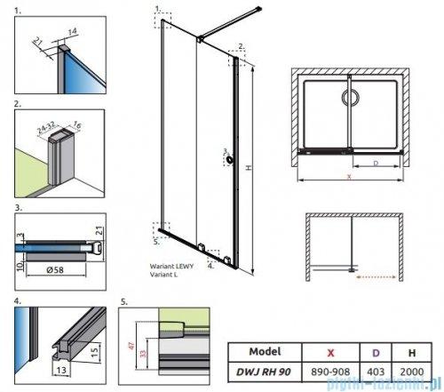 Radaway Furo Black DWJ RH drzwi prysznicowe 90cm lewe szkło przejrzyste 10107442-54-01LU/10110460-01-01