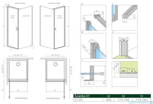 Radaway Nes Kdj I ścianka boczna 80cm szkło przejrzyste 10039080-01-01