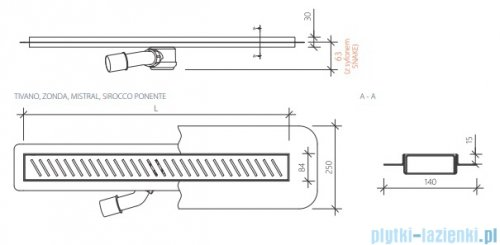 Wiper New Premium Mistral Odpływ liniowy z kołnierzem 100 cm poler 100.1970.01.100