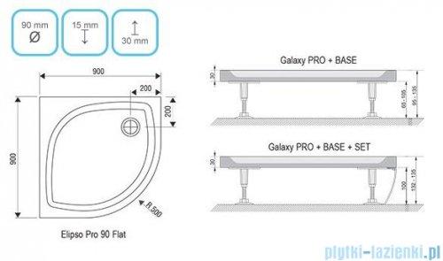 Ravak Elipso Pro Flat brodzik półokrągły 90x90cm XA237711010