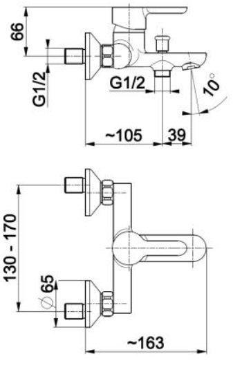 KFA Granat bateria wannowa, kolor chrom 5524-010-00