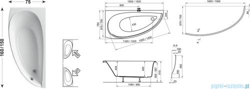 Ravak Wanna asymetryczna Avocado 160x75 Lewa CQ01000000