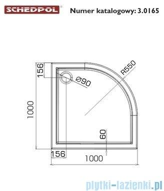 Schedpol Competia Brodzik półokrągły z nośnikiem 100x100x14cm 3.0165