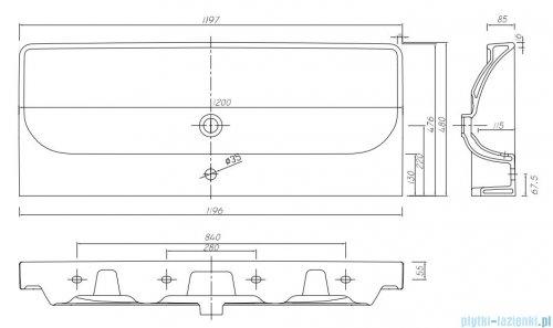 Koło Traffic umywalka meblowa 120cm z otworem przelewem i powłoką Reflex L91120900