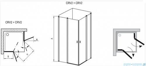 Ravak Chrome Kabina prysznicowa narożna, jedna połowa CRV2-100 satyna+transparent 1QVA0U00Z1
