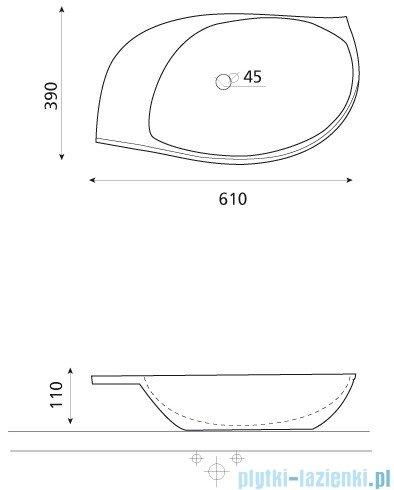 Bathco umywalka nablatowa Flora 61x39 cm 4021