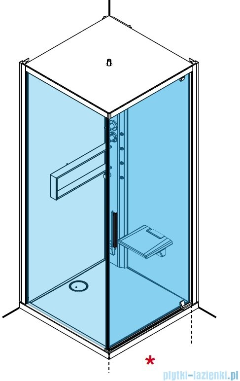 Novellini Glax 2 2.0 kabina z hydromasażem hydro plus 80x80 prawa total biała G22GF89DT1L-1UU