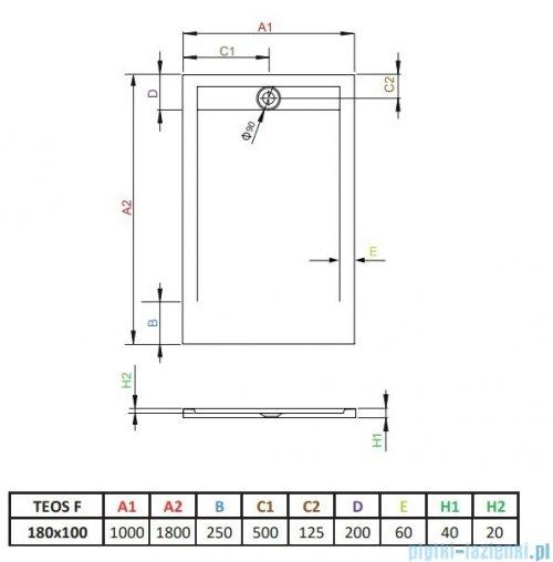 Radaway Teos F brodzik 180x100cm antracyt HTF180100-64