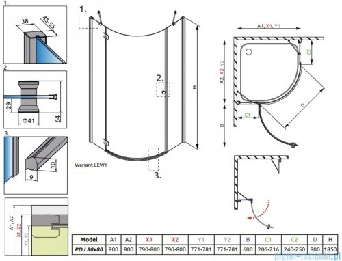 Torrenta PDJ Radaway kabina półokrągła 80x80 lewa szkło grafitowe 31710-01-05N