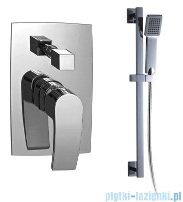 Omnires Murray zestaw prysznicowy podtynkowy chrom bateria i słuchawka