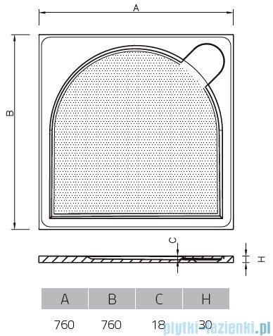 Vayer Citizen Virgo 76x76cm brodzik kwadratowy rysunek techniczny
