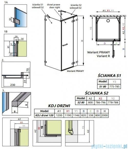 Radaway Euphoria KDJ+S Kabina przyścienna 80x120x80 prawa szkło przejrzyste rysunek techniczny