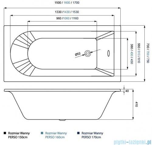 Massi Perso wanna prostokątna 170x75 cm MSWT-PE-003170