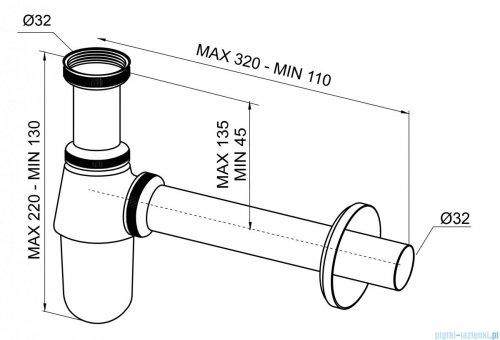 New Trendy półsyfon umywalkowy butelkowy chrom S-0035