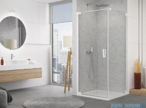 SanSwiss Cadura White Line drzwi wahadłowe 80cm jednoczęściowe lewe z profilem przyściennym biały mat CA1CG0800907